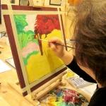 Corso creativo, dipingere su tavola.